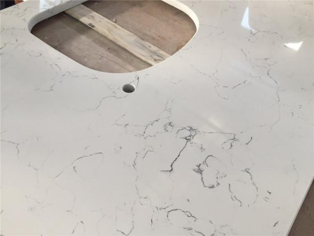 Marble Like With Grey Veins In Quartz Countertop Foshan