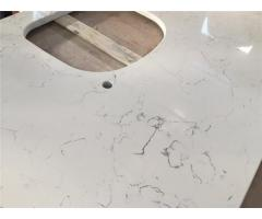 Marble Like with Grey Veins in Quartz Countertop