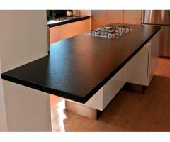 Black Color Quartz Stone Rock Surface with Suede Texture